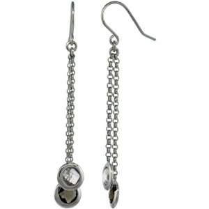 Sterling Silver Natural Stone Dangle Earrings w/ 6mm Smoky