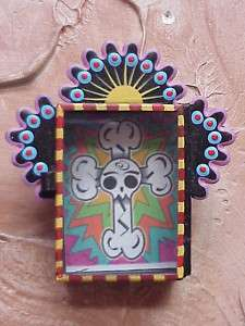 Tin Nicho Day of the Dead Mexican Folk Art 3.5x4 in