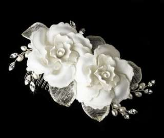 Twin Rose Pearl & Rhinestone Bridal Headpiece Comb