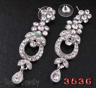 H30240 clear bridal Necklace Earring white gold plated shop