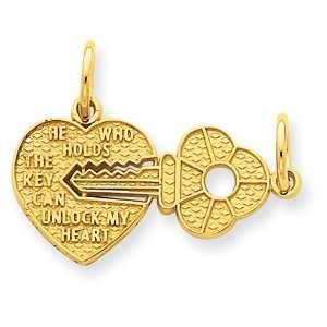 14k Yellow Gold Key and Heart Break Apart Charm Jewelry