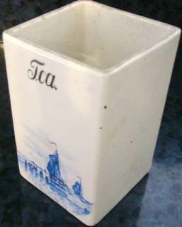 VINTAGE DUTCH DELFT BLUE PORCELAIN TEA SPICE CONTAINER