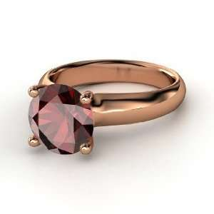 Bardot Ring, Round Red Garnet 14K Rose Gold Ring Jewelry