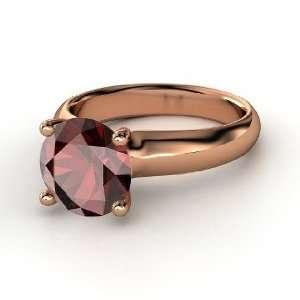 Bardot Ring, Round Red Garnet 14K Rose Gold Ring Jewelry