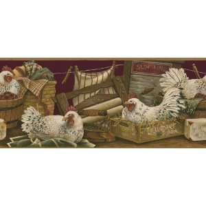 Roosters & Laundry Burgundy Wallpaper Border by 4Walls