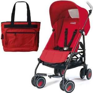 : Peg Perego Pliko Mini Stroller with a red Diaper Bag Fire Red: Baby
