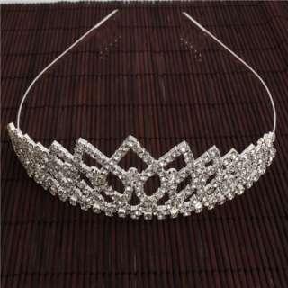 Shining Rhombus Style Rhinestone Crown Headband wedding Tiara Headband