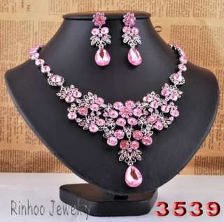 Rhinestone Crystal Beads Prom Bridal Necklace Earrings Jewelry set