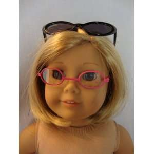 Pink Eye Glasses and One Black Sunglasses Made to Fit the 18 Inch Doll