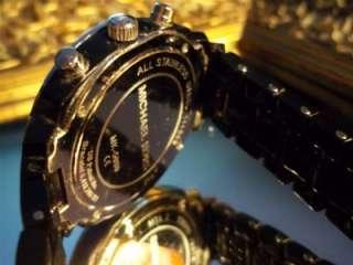 MICHAEL KORS Black CHRONO Watch MOTHER of PEARL Crystals DESIGNER
