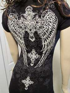 Western Rodeo Scrolls Cross Wings Domes Rhinestones Cowgirl Tee T