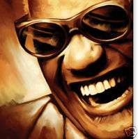 RAY CHARLES Jazz blues Original CANVAS ART *PAINTING*