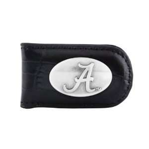 NCAA Alabama Crimson Tide Black Crocodile Leather Magnet