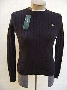 Ralph Lauren Polo Womens M Sweater Shirt Cable Pony Cotton Black