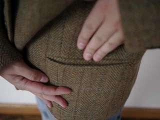 RALPH LAUREN CHAPS Herringbone Plaid Tweed WOOL Fitted BLAZER Jacket