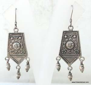 ANTIQUE ETHNIC TRIBAL OLD SILVER EARRING DANGLE RAJASTHAN INDIA
