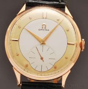 SOLID ROSE GOLD 2 TONE FANCY DIAL MANUAL WIND VINTAGE DRESS MENS WATCH