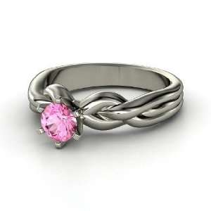 Eternal Braid Solitaire Ring, Round Pink Sapphire 14K White Gold Ring