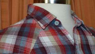 LONG SLEEVE RED WHITE BLUE PLAID HEAVY FLANNEL SHIRT MENS LARGE