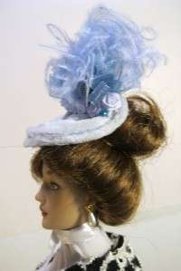 Doll Hats by Peggy shows Baby Blue a OOAK Fascinator Doll Hat on my
