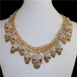 Lots Skull Necklace Pendant Clear AB Swarovski Crystal