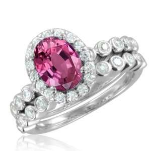 Natural Pink Sapphire Diamond Engagement Wedding Ring Bridal Set 14k