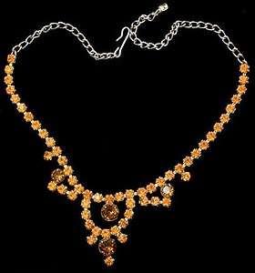 Beautiful Vintage Prong Set Orange & Topaz Rhinestone Gold Tone