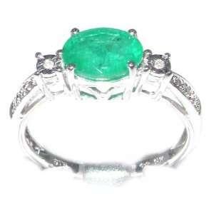 Luxury Elegant Womens 9K White Gold Emerald & Diamond Ring