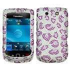 Leopard Skin Rhinestone Bling Hard Case Cover Blackberry Torch 9800 4G