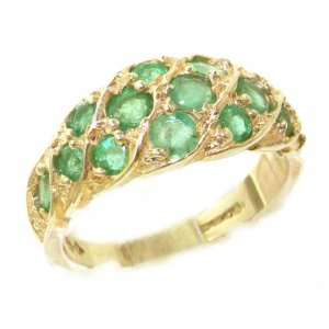 Luxury Ladies Solid Yellow Gold Vibrant Emerald Band Ring