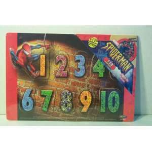 Wooden 123 Number Puzzle Marvel Spider Man Toys & Games