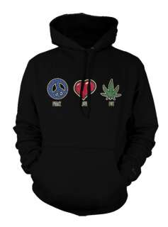 Peace Love Pot Marijuana Weed Cannabis High Hoodie
