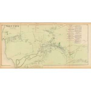 Reproduction of an 1873 Antique Map of Glen Cove (Oyster