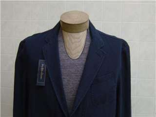 Lauren Mens Linen Cotton L Coat Jacket Navy Blue Button Pocket