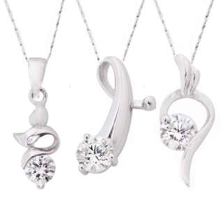 CZ Charm Pendant & 18 Italy Silver Necklace ~ 4 Styles