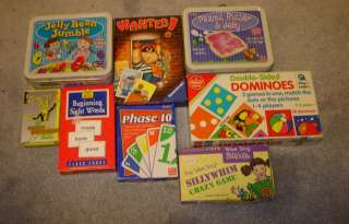 HUGE 8 CARD GAMES DOMINOES FLASH CARDS LOT AGES 3+