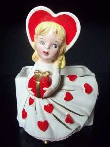 VTG RELPO LADY GIRL HEART VALENTINE PLANTER HEAD VASE