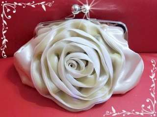 Satin 3D Big Rose Bridal Beige Wedding Bag Evening Bag & Clutch Purse