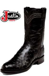 Justin Mens 3171 Full Quill Exotic Black Ostrich Roper Boot 11B New