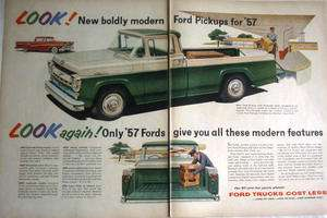 1957 FORD STYLESIDE BODY F 100 PICKUP TRUCK   PRINT AD