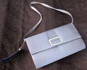 NWT Pewter Silver Satin Evening Bag   Rhinestone Detail