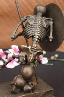 signed Milo, Bronze Skull Skeleton Warrior sculpture Statue Art