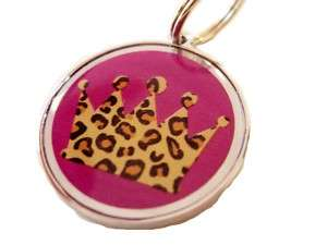 Designer Pet ID Tags Dog Cat Leopard Crown Purple Small