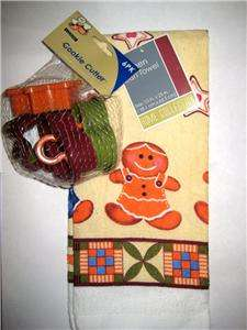 GINGERBREAD MAN COOKIE CUTTERS & DISH TOWEL GIFT SET   STAR & HEART