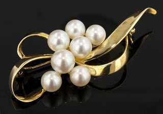 Mikimoto Vintage Alcoya Pearl and 18k Yellow Gold Brooch