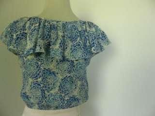 NEW Paul & Joe LIONNE PATTERN SILK Ruffle Combo Dress blue size small