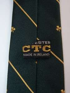 Vintage Shamrock Clover St Patrick Pat Day Green Necktie Tie