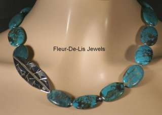 Jay King MINE FINDS 23 Hubei Turquoise Leaf Necklace Sterling Silver