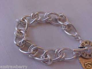 Monet Silver Tone Metal Link Chain Toggle Clasp Signed NWWT Bracelet 7