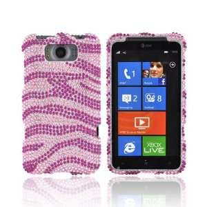 For HTC Titan Hot Pink Zebra on Baby Pink Gems Bling Hard